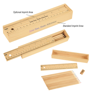 12- Piece Colored Pencil Set In Wooden Ruler Box